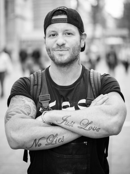 "Joe ""no lies, just love"" 100Strangers Man No Lies  Stuttgart Arms Crossed Cap Casual Clothing City Just Love Men No Lies Just Love One Person Portrait Real People Smiling Standing Stranger Strong Tattoo Young Men"