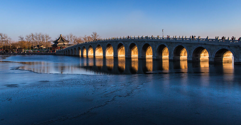 Bridge over river against clear blue sky during sunset