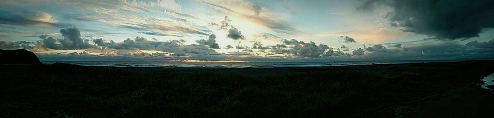 sunset, clouds, stormy, ocean, beach, panoramic