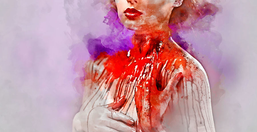 Young woman's body covered with a blood. Digital watercolor painting. BLOODY Digital Drawing Digital Paint Evil Makeup Murder Watercolour Woman Beauty Blood Body Arts Body Paint Caucasian Digital Art Digital Illustration Digital Painting Digitally Altered Digitally Generated Digitally Generated Image Illustration One Person Watercolor Watercolor Painting Watercolour Painting Young Adult