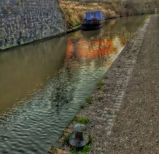 Canal Boat Barge Water Reflections Canal Barge Tow Path Chesterfield Canal Blue Canal Barge Blue Barge Blue Boat Lock Samsung Galaxy S5 Mobilephotography Victorian Architecture English Canal British Canal EyeEm Gallery