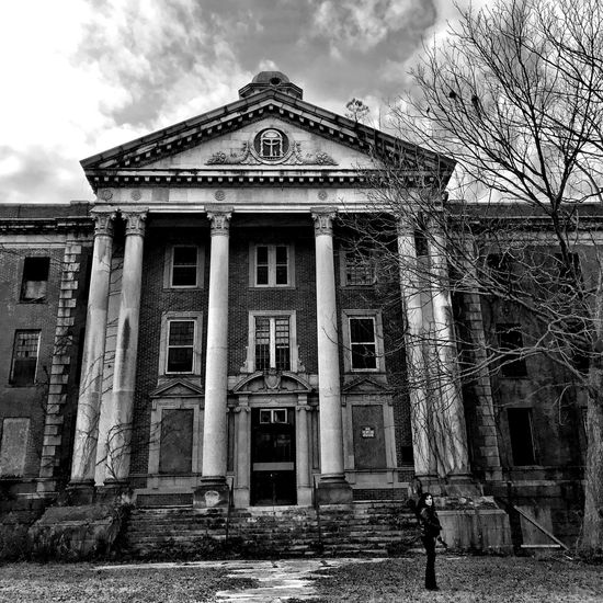Abandoned Buildings Abandoned Blackandwhite Architecture Building Exterior Built Structure Entrance Façade Door Sky Day Outdoors Exterior History Window