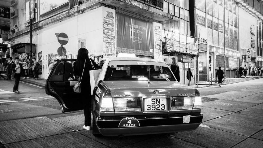 HongKong Streetphotography Blackandwhite Taxi Transportation Street Car City Life Public Transportation Travel