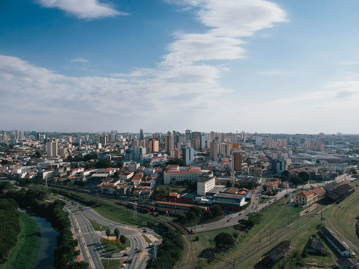 Brazil City Cityscape Drone  Sao Paulo - Brazil Skyline Aerial View Birds Eye View Buildings Sorocaba View From Above