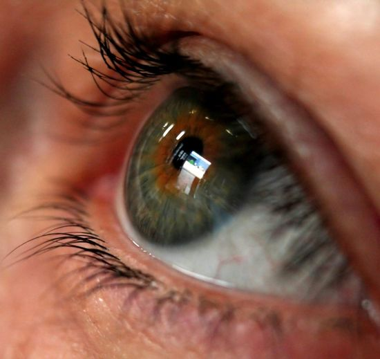 Extreme Close-Up Of Eye With Television Screen Reflecting In It