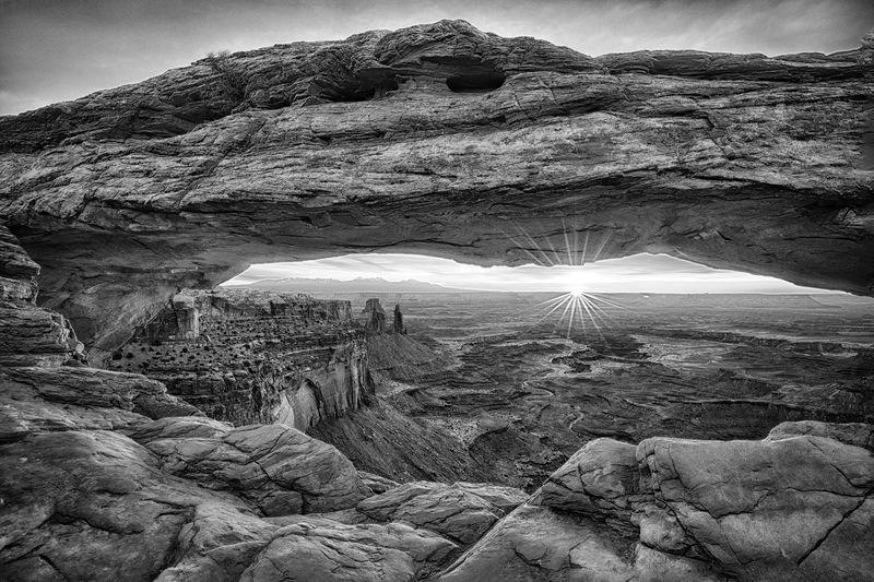 Mesa arch seen during sunrise