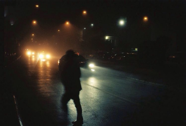 Fade out. Night Fog Night Lights