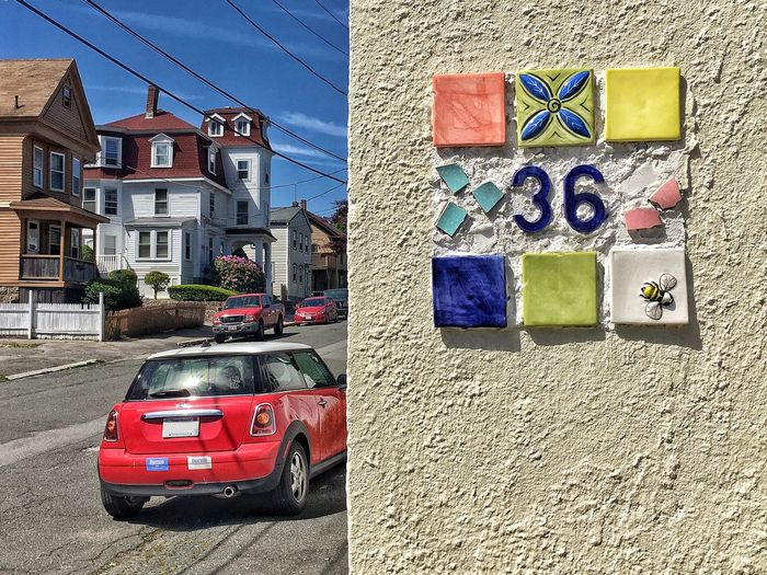 Street Parking Decoration Ornament Bee Victorian Mini Tiled Wall Tile Tiles Textures and Surfaces Texture Textured  Stucco Street Numbers Street Number Building Exterior Car Built Structure Motor Vehicle Architecture Transportation City Mode Of Transportation Land Vehicle Street No People Building Sunlight Multi Colored Outdoors Road