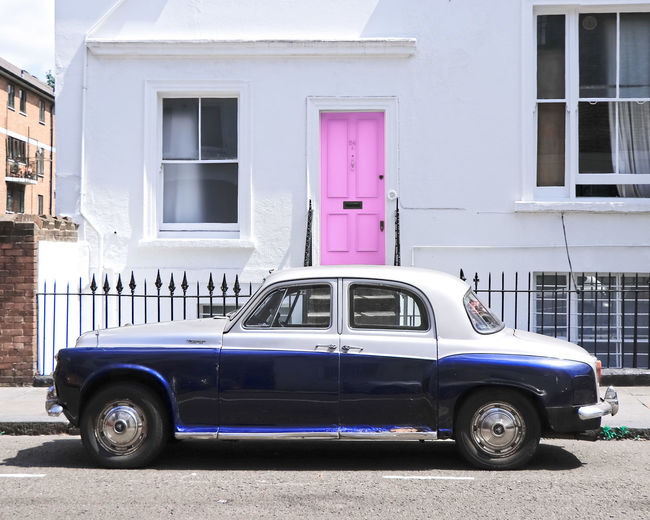 Vintage car from Notting Hill House Front Streetphotography Streetphoto_color Pink Door Doorway Old-fashioned Car Retro Styled Window Architecture Building Exterior Built Structure Vintage Car Collector's Car