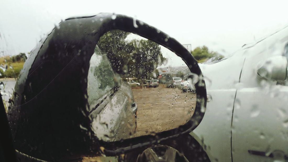 Transportation Mode Of Transport Car Side-view Mirror No People Indoors  Rainy Season Rain Drop The Drive. The Drive