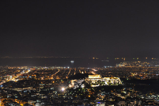 Athens night view from mount Lycabettus Athens, Greece Panoramic Parthenon Travel Acropolis Ancient Greece Architecture Athens Building Exterior Built Structure City City Lights Cityscape Illuminated Landmark Modern City Night Outdoors Residential  Sea View Sky Visit Greece