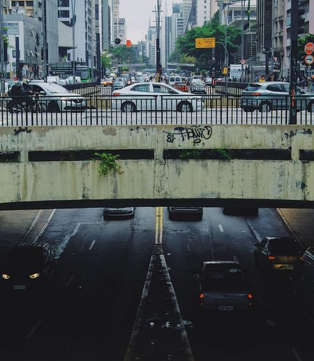 High angle view of city street during rainy season