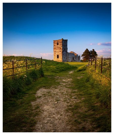 Ruins Church Sky Building History Blue Landscape Tranquility