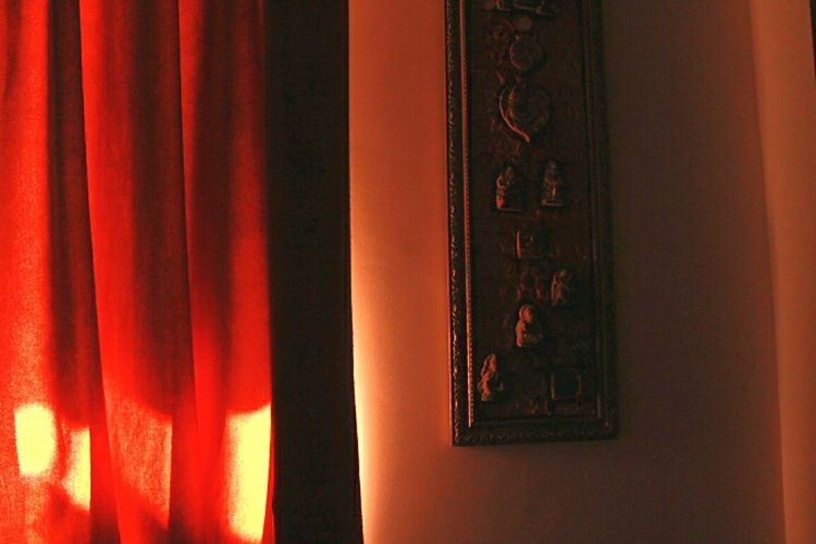 Check This Out Home Interior Peek Inside My Home Taking Photos Interior Design Orange Color Curtain Sunlight Sunny Day Morning Time My Room Red Curtains Wall Hanging Original No Effects