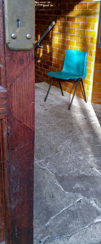 A Turquoise Chair spotted in Newtown Powys Architecture No People Day Indoors  Sunlight Wales UK Door Doorway Tiles Vintage Bright Victorian Buildings Entrance Entryway стул свет дверь