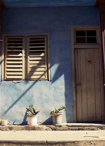 Architecture Door Window Sun Shadows & Lights Blue Havanna, Cuba Old Havana, Cuba