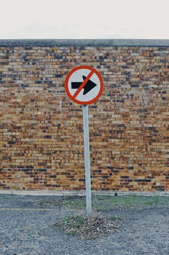 Cape Town Cape Town, South Africa South Africa Architecture Brick Wall Bricks Brickstones Building Exterior Built Structure City Close-up Communication Concrete Day Guidance Nature No Left Turn No People No Right Turn Not Allowed Outdoors Road Sign Sky
