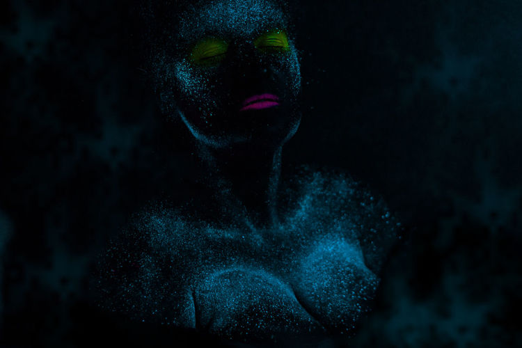 One Person Dark Portrait Black Background Studio Shot Adult Headshot Women Human Body Part Body Part Make-up Mystery Indoors  Human Face Front View Horror Lipstick Spooky Close-up Astronomy Beautiful Woman Human Lips Hairstyle Body Paint Contemplation