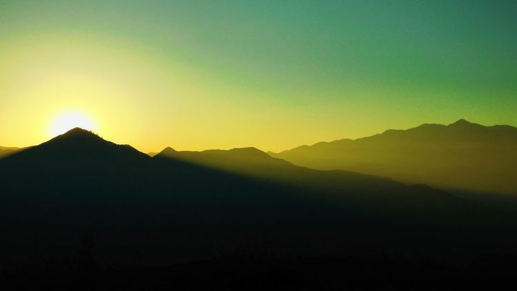 Mountain Silhouette Nature Beauty In Nature Tranquility Tranquil Scene Scenics Mountain Range Clear Sky Sunset Outdoors No People Landscape Sky Day The Great Outdoors - 2018 EyeEm Awards A New Beginning