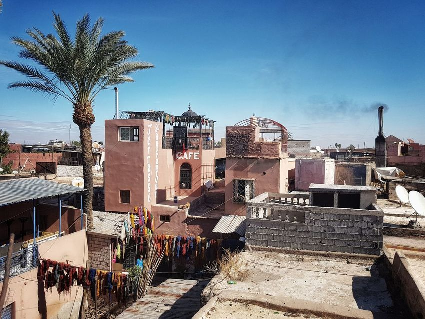 Morocco Marrakech Travel Destinations Moroccan Style Dyer´s Souk Terrace Travel No People Clear Sky Maroc ❤️ Marrakesh❤