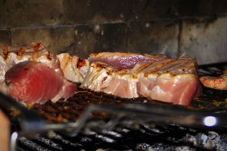Tuna Fillets Grilling On Barbecue