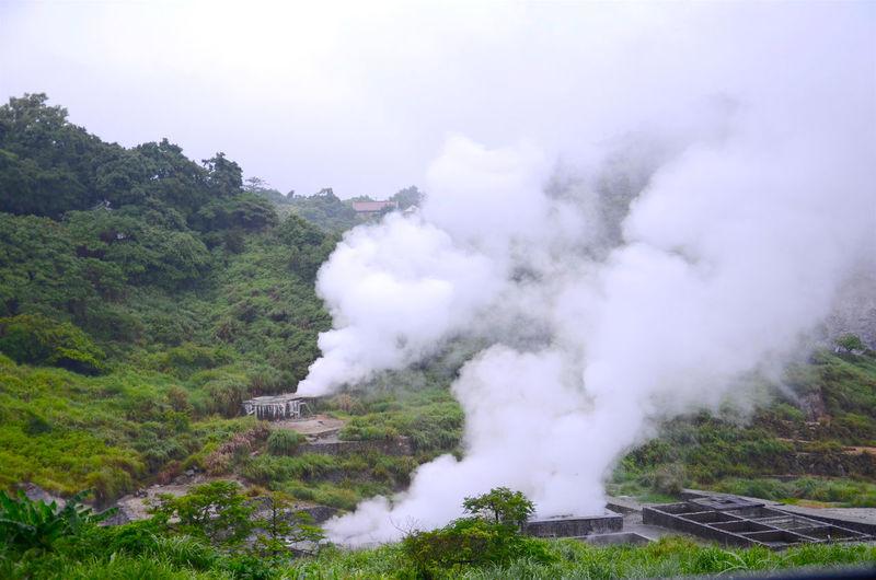 Smoke emitting from sulphur mine