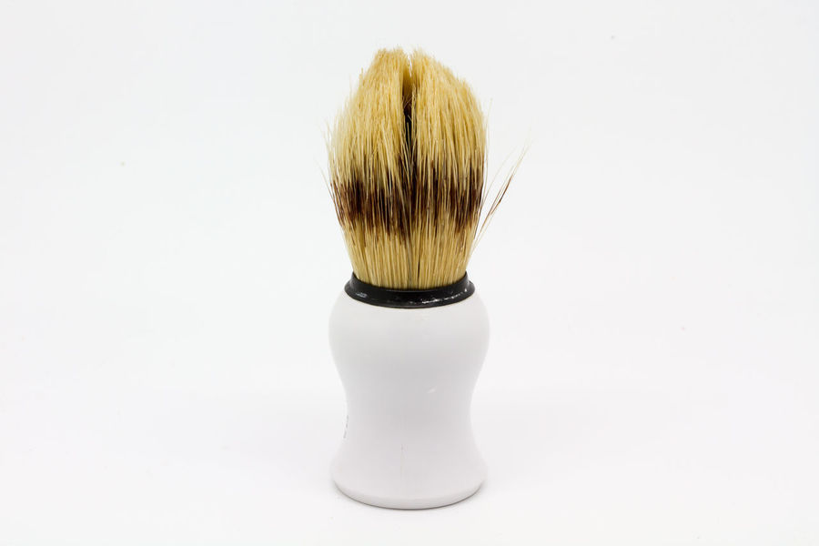 A shaving brush Brush Close-up Grooming Lifestyles Male Grooming Shave Shaving Shaving Brush Still Life Studio Shot Wet Shave White White Background
