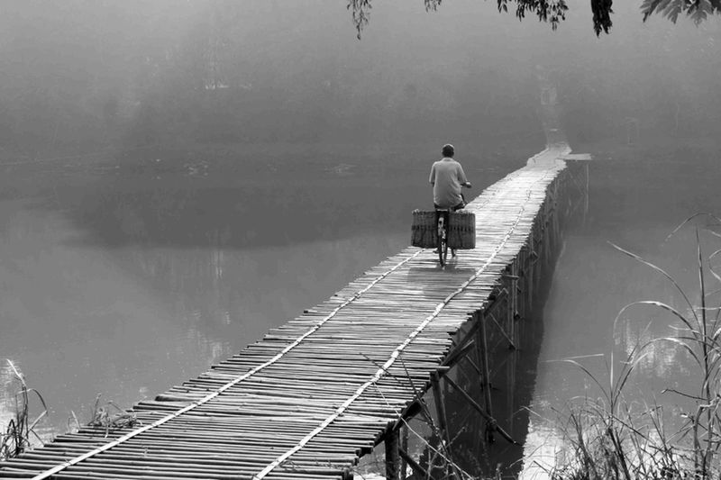 Lake Water Adult Tranquil Scene One Person Adults Only Outdoors Jetty One Man Only People Only Men Men Full Length Day Nature Tree Blackandwhite Photography Blackandwhite Black & White Baycicle Yogyakarta Story Yogyakarta,indonesia Black And White Friday