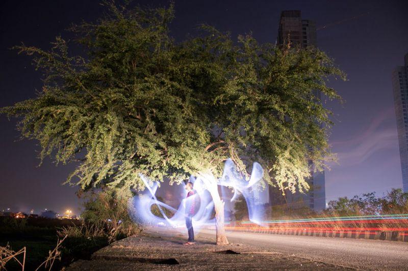 Long Exposure Lightpainting Tree Night Outdoors Illuminated Real People Animal Themes EyeEm Ready