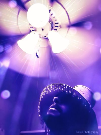 Facing my light... Indoors  Arts Culture And Entertainment Low Angle View Illuminated Lighting Equipment Music Purple Event Ceiling Technology Nightlife Light - Natural Phenomenon Nightclub Light Enjoyment Night No People Stage - Performance Space Decoration Human Representation