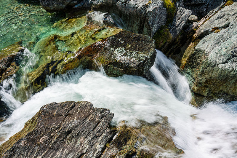 Scenic view of water stream in the mountains