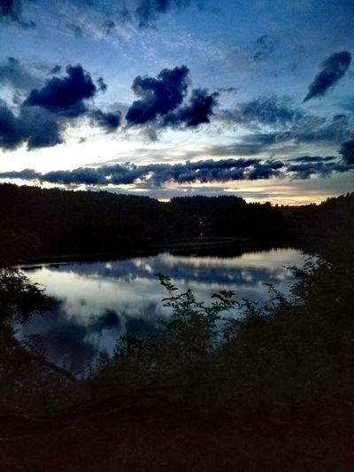 Reflection Cloud - Sky Lake Sky Nature Scenics Outdoors Water Beauty In Nature Tranquility Night No People Landscape Sunset Mountain Tree Maar Pulvermaar Maar Lake Vulcano Lake Vulkaneifel Sunset Silhouettes