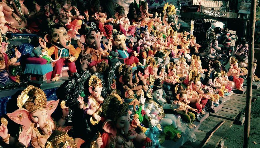 Ganesha idols for sale at market stall