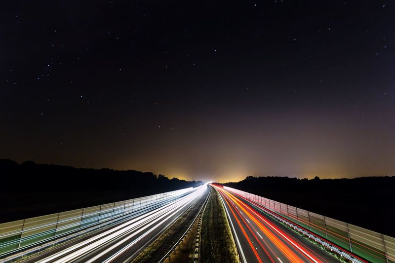 A2 highway ar night Speed Motion Cars Trip Europe Poland Canon Night Sky Illuminated Long Exposure Light Trail Transportation Speed Motion Architecture Road vanishing point The Way Forward Diminishing Perspective Highway Star No People Direction