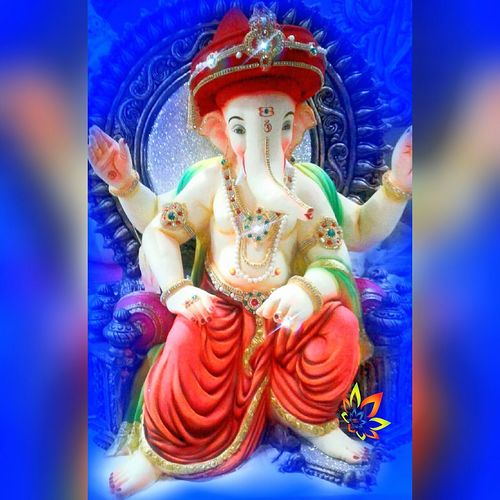 The Color Of Technology Ganpati Festival Human Representation Spirituality Religion Statue Art And Craft Sculpture Close-up Blue Culture Place Of Worship Idol Vibrant Color Golden Multi Colored Phone Click Samsung Galaxy J2 Mobile Photography