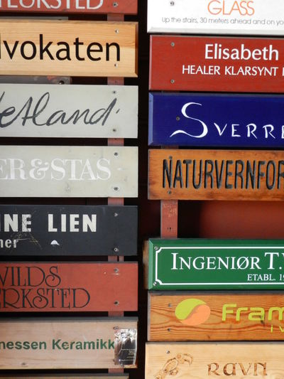 Bergen Norway Choice Close-up Communication Container Full Frame Healthcare And Medicine Indoors  Information Information Sign Multi Colored No People Non-western Script Number Script Sign Still Life Text Variation Western Script Wood - Material