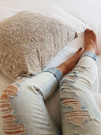 Legs. Jeans Tattered Ripped Jeans Woman Low Section Human Leg Relaxation Women High Angle View Close-up Human Foot Personal Perspective Toenail Pedicure Human Feet Nail Polish Human Toe Feet Toe barefoot