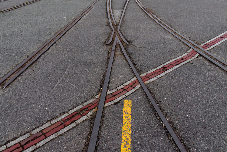 High angle view of railroad tracks on road