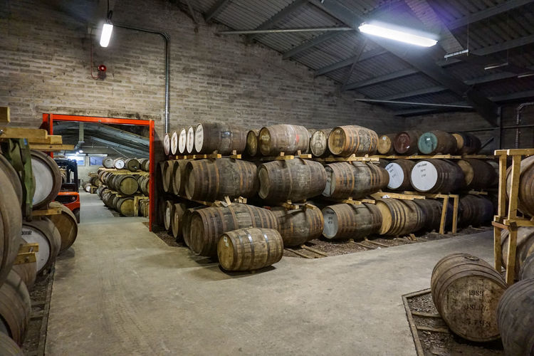 Edradour Whiskey Warehouse Destillery Scotland Barrel Barrels Food And Drink Indoors  Industry No People Stack Warehouse Whiskey Whiskey Barrels Wood - Material
