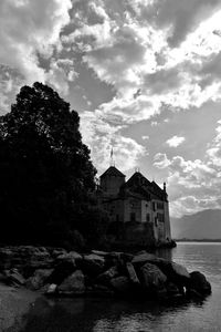 Architecture Beauty In Nature Blackandwhite Building Exterior Built Structure Castle Cloud - Sky History Outdoors Sky Water