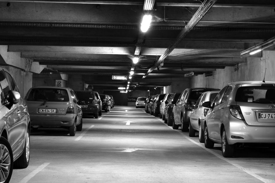 Black And White Black And White Photography Blackandwhite Cars Light And Shadow Long Exposure Neon Lights Underground Parking