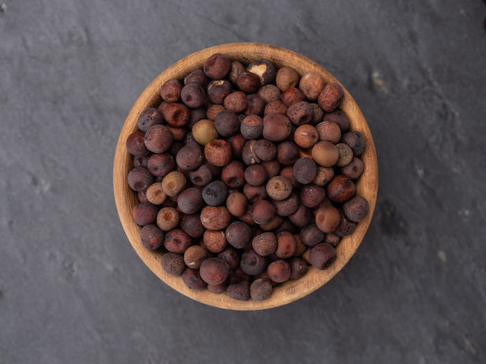 High angle view of blueberries in container on table