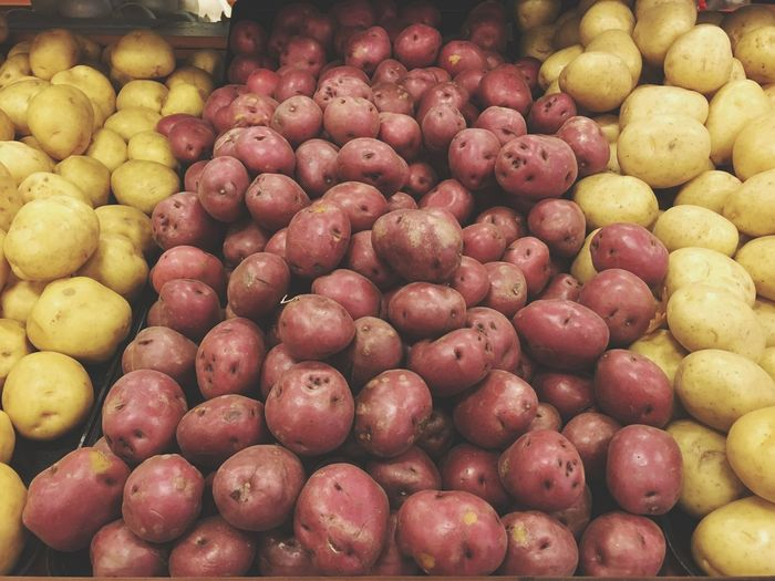 Close-up of potatoes for sale in market