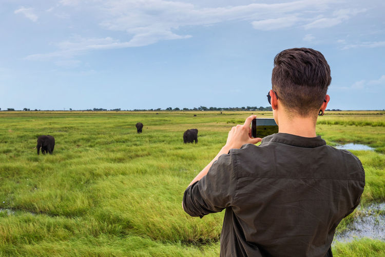 Rear view of man photographing on field