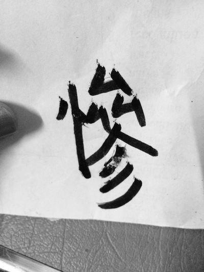 我要寫個慘字 Chinese Words 中文 Writing Blackandwhite