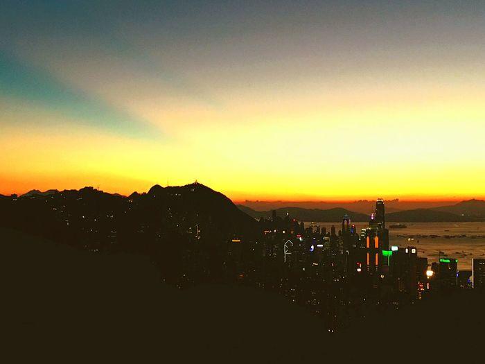 Sunset Hong Kong Wilson Trail Beautiful Skyline Colors City Lights Building Concrete Jungle