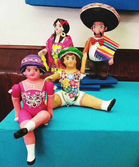 Dolls Paperboard Disign Pink Color Flowers Red Color Moustache Customer  Earings With Orange Color Hat Ponchos Yellow Black Traditional Culture Mexican Culture Mexican Toys Hat Sombrero Adult Togetherness People Full Length Arts Culture And Entertainment Guitar Indoors