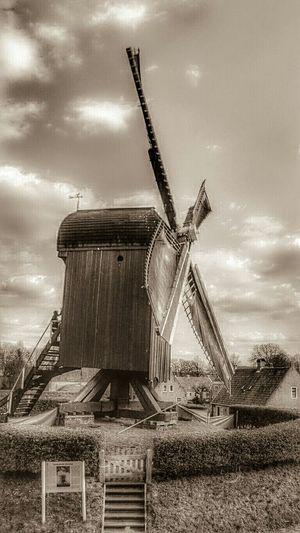 Eye4photography , Sepia Tone Loving Monochrome. Windmill in Old Village Bourtange, Groningen, Dutch Landscape Hdr Edit