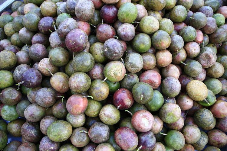 Morning Market Laos Food For Sale Fruit Green Color Passion Fruit Street Market