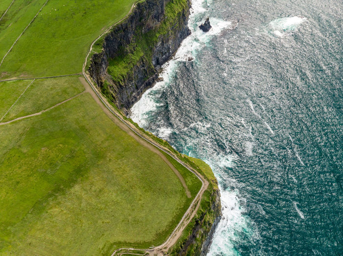 Aerial view of sea by cliff